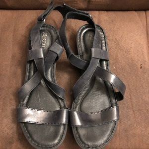 Born black wedge sandals. Size 9.